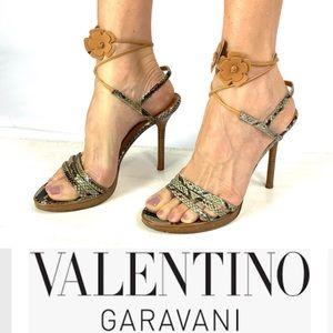 VALENTINO GARAVANI Python & Flower Ankle Tie Heels